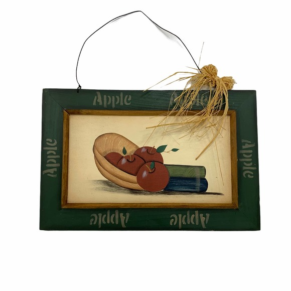 Vintage Wooden Hanging Picture Books Apples